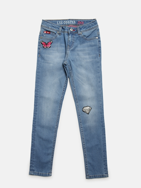 Lee Cooper Girls Blue Slim Fit Mid-Rise Clean Look Stretchable Jeans  available at myntra for Rs.749