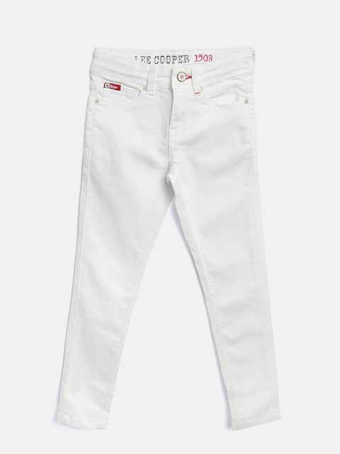 Lee Cooper Girls White Annie Slim Fit Mid-Rise Clean Look Stretchable Jeans