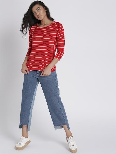 Chemistry Women Red & White Striped Round Neck T-Shirt