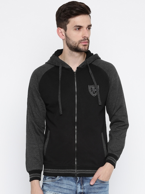 Roadster Men Black & Charcoal Grey Hooded Sweatshirt