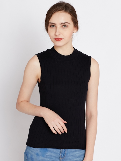 United Colors of Benetton Women Black Self-Striped Fitted Top