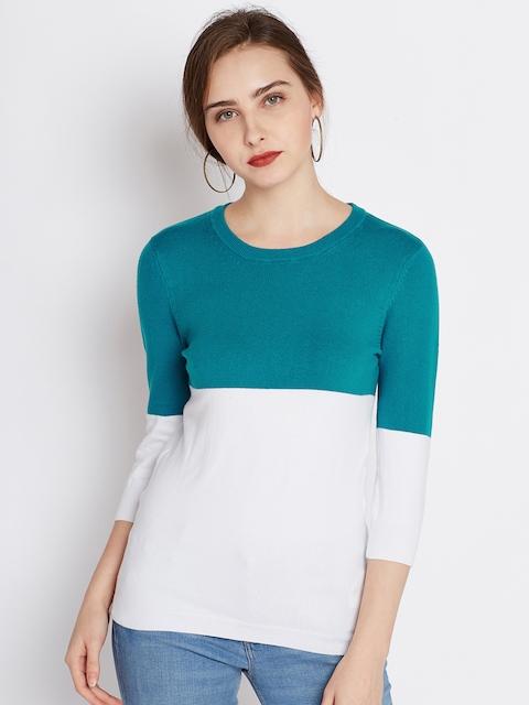United Colors of Benetton Women Blue & White Colourblocked Sweater