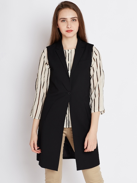 United Colors of Benetton Women Black Solid Tailored Jacket
