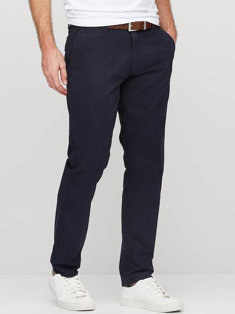 next Men Navy Blue Skinny Fit Solid Chinos