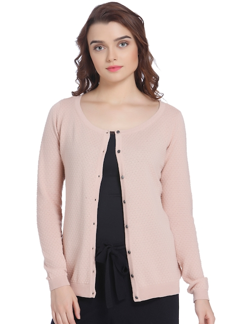 Vero Moda Women Beige Self Design Cardigan