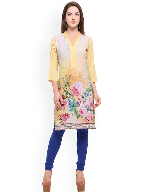 Vaamsi Women Yellow Printed Straight Kurta