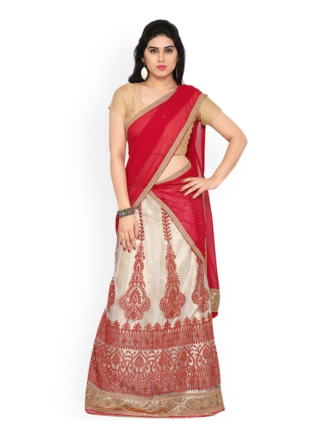 Rajesh Silk Mills Off-White & Red Embroidered Net Semi-Stitched Lehenga Choli with Dupatta  available at myntra for Rs.1819
