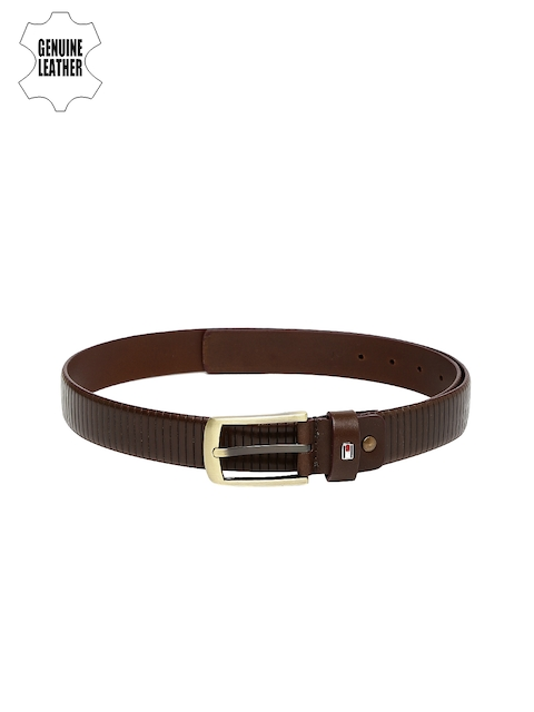 Tommy Hilfiger Men Brown Genuine Leather Textured Belt