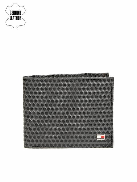 Tommy Hilfiger Men Navy Blue Self-Designed Two Fold Leather Wallet