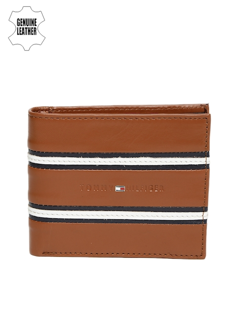 Tommy Hilfiger Men Tan Striped Two Fold Striped Genuine Leather Wallet