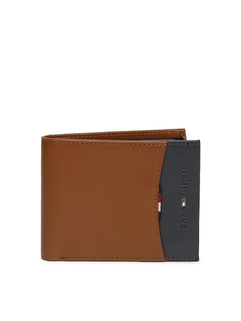 Tommy Hilfiger Men Tan Brown & Grey Two Fold Wallet