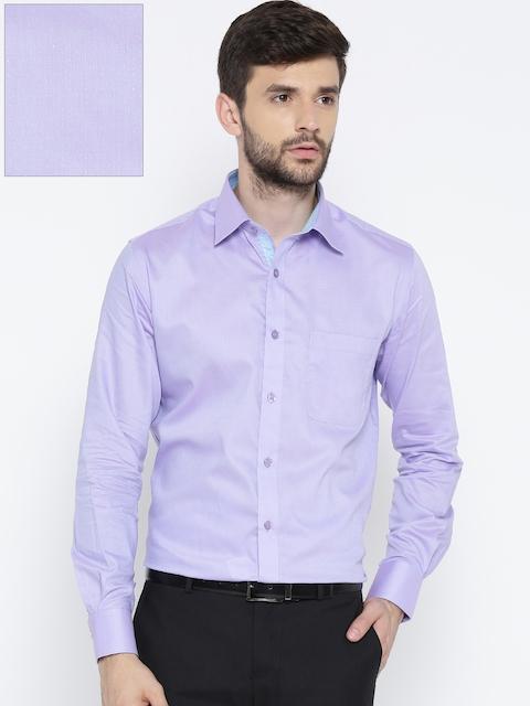 Raymond Men Purple Slim Fit Self-Design Formal Shirt