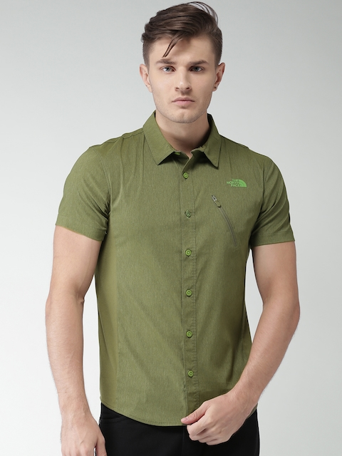 The North Face Men Olive Green Asian Fit Solid Casual Shirt