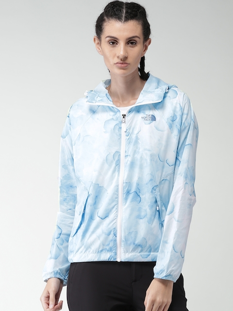 The North Face Women Blue Printed Lightweight Open Front Jacket
