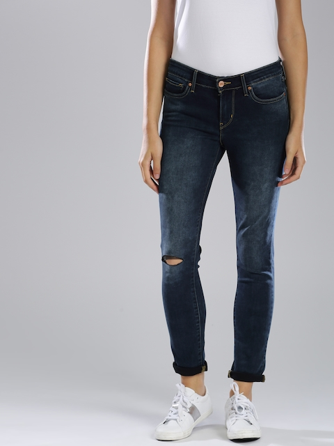 Levis 711 Women Blue Skinny Fit Mid-Rise Slash Knee Stretchable Jeans
