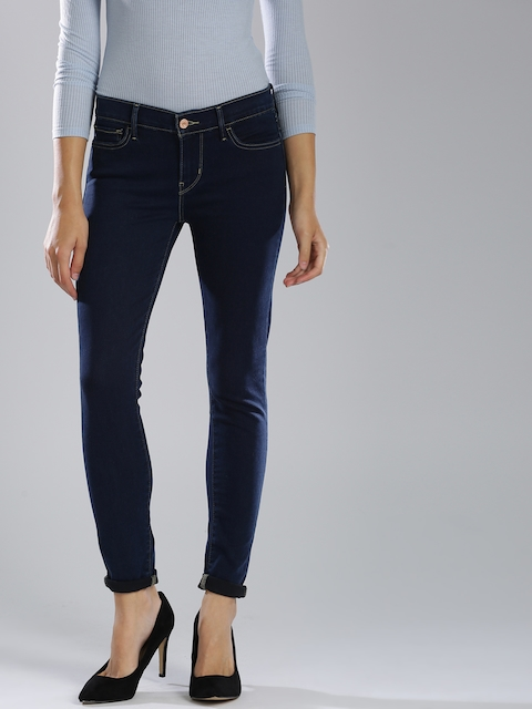 Levis Women Blue Super Skinny Fit Mid-Rise Clean Look Stretchable Jeans