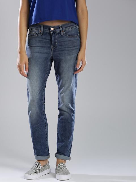 Levis Women Blue 511 Slim Fit Mid-Rise Clean Look Stretchable Jeans 312
