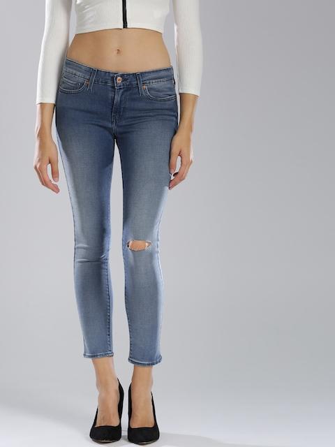 Levis Women Blue Skinny Fit Mid-Rise Slash Knee Stretchable Jeans 711