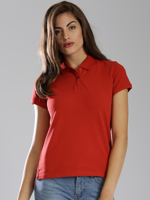 Levis Women Red Solid Polo Collar T-shirt