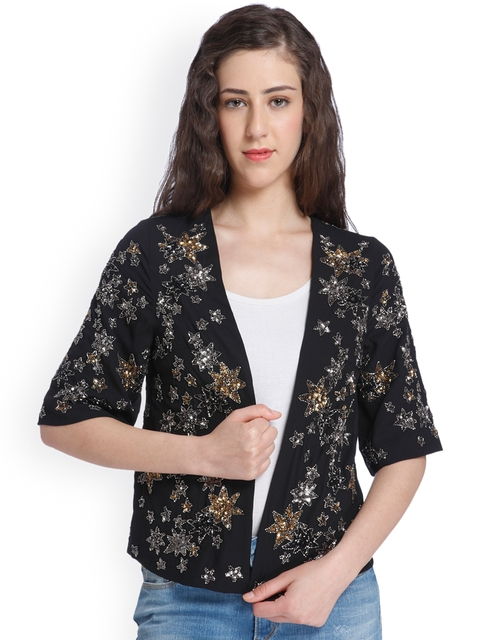 ONLY Women Black Embellished Open Front Jacket