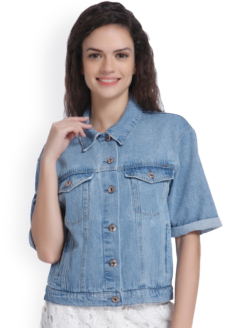 ONLY Women Blue Solid Denim Jacket