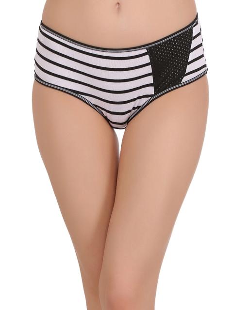 Clovia Women Black & White Striped Hipster Briefs PN1473P13