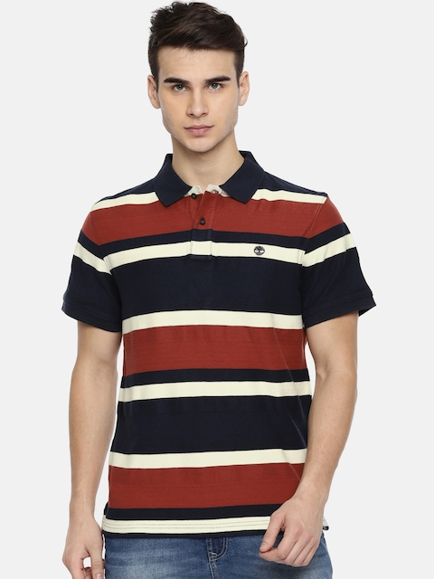 Timberland Men Navy & Red Striped Polo T-shirt