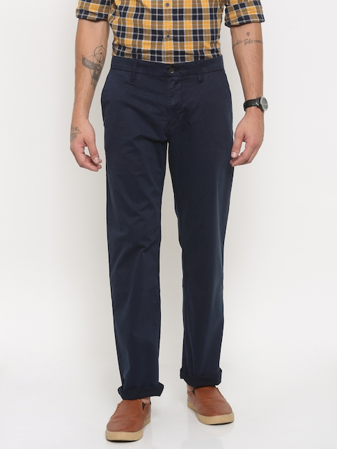 Timberland Men Navy Blue Straight Fit Solid Chinos