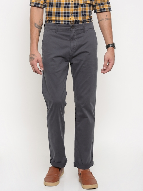 Timberland Men Grey Slim Fit Solid Chinos