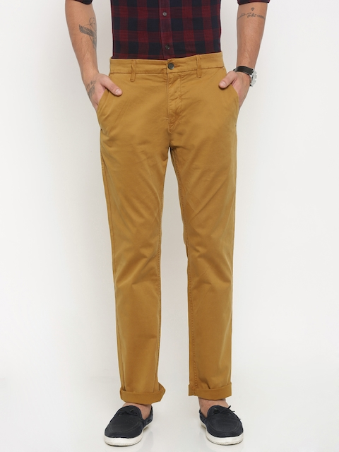 Timberland Men Mustard Yellow Slim Fit Solid Chinos