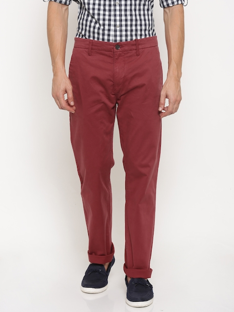 Timberland Men Maroon Slim Fit Solid Chinos