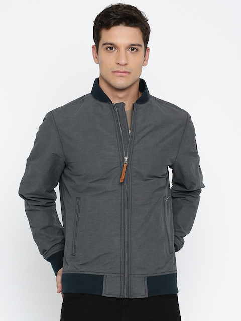 Timberland Men Blue Solid Windcheater and Water Resistant Open Front Jacket