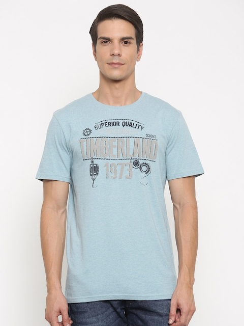 Timberland Men Blue Printed Round Neck T-shirt