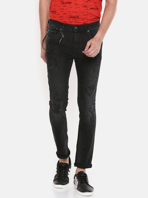 Jack & Jones Men Black Ben Skinny Fit Low-Rise Mildly Distressed Jeans