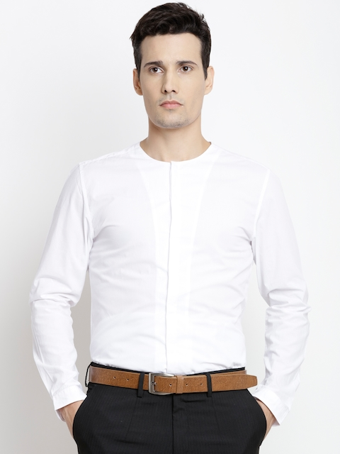 Jack & Jones Men White Slim Fit Solid Casual Shirt