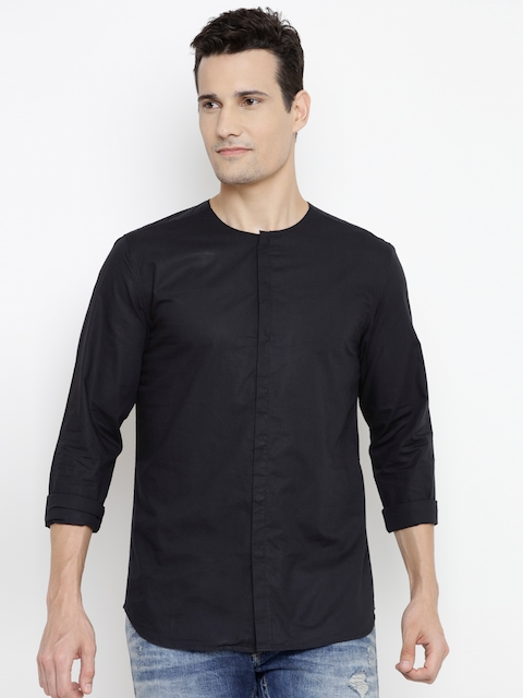 Jack & Jones Men Black Slim Fit Solid Casual Shirt