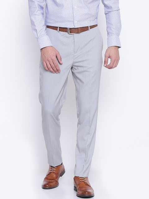 Jack & Jones Men Grey Solid Formal Trousers