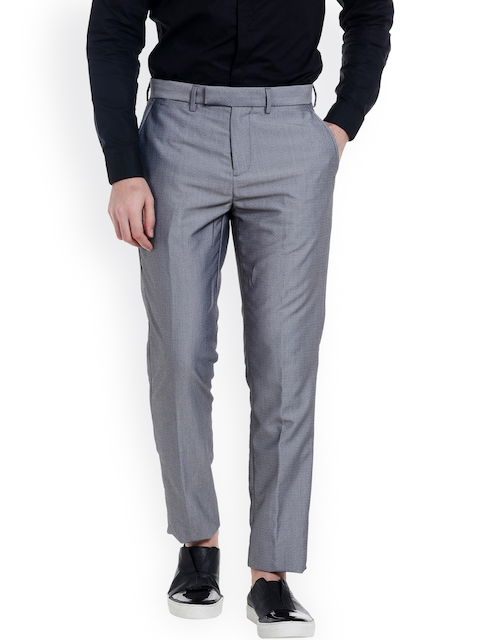 Jack & Jones Men Grey Tailored Regular Fit Self-Design Formal Trousers