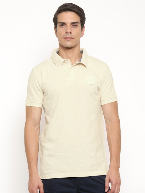 Timberland Men Cream-Coloured Solid Polo Collar T-shirt