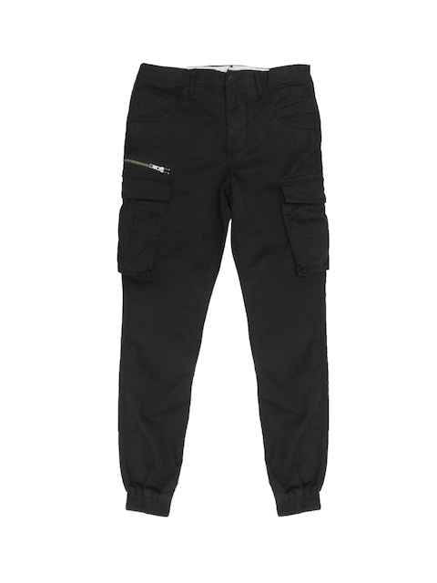 Jack & Jones Men Black Anti Fit Solid Cargo Joggers