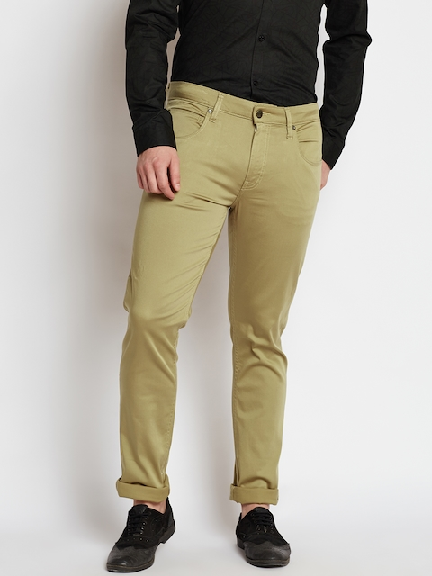 Jack & Jones Men Beige Slim Fit Solid Trousers