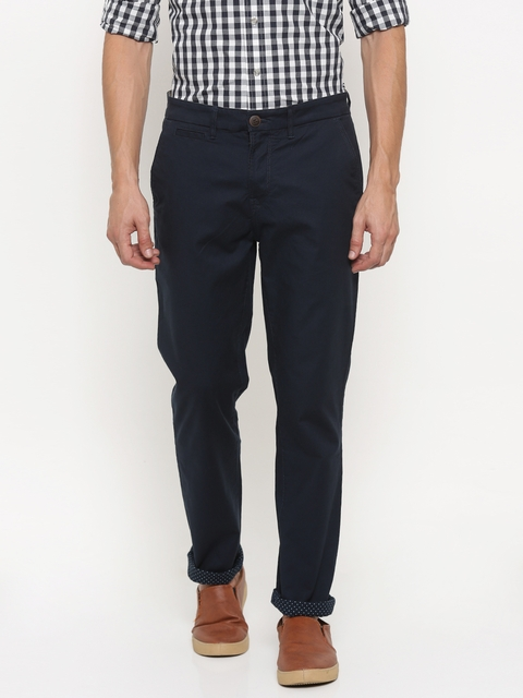 Timberland Men Navy Blue Skinny Fit Solid Chinos