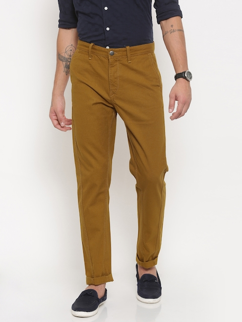 Timberland Men Mustard Yellow Tapered Fit Solid Chinos