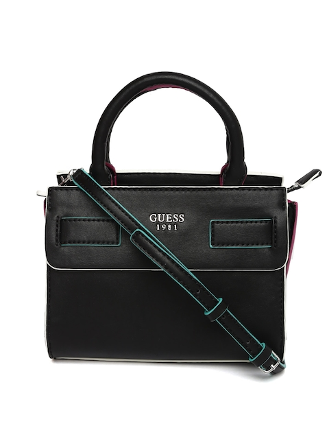 GUESS Black Solid Handheld Bag with Detachable Sling Strap