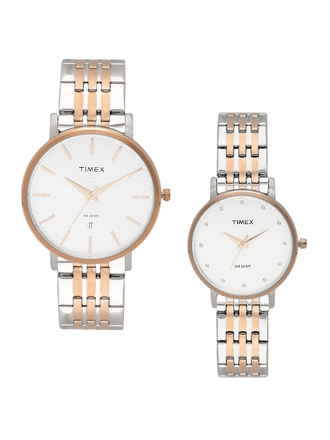 Timex Set of 2 Silver-Toned His & Her Watches TW00PR211