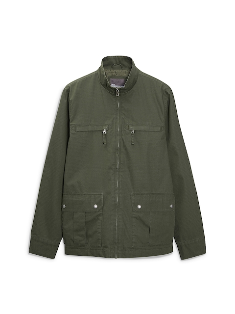next Men Olive Green Solid Parka Jacket