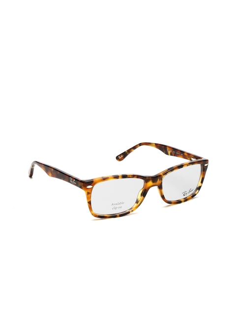 Ray-Ban Women Brown & Black Animal Print Rectangular Frames 0RX5228571253