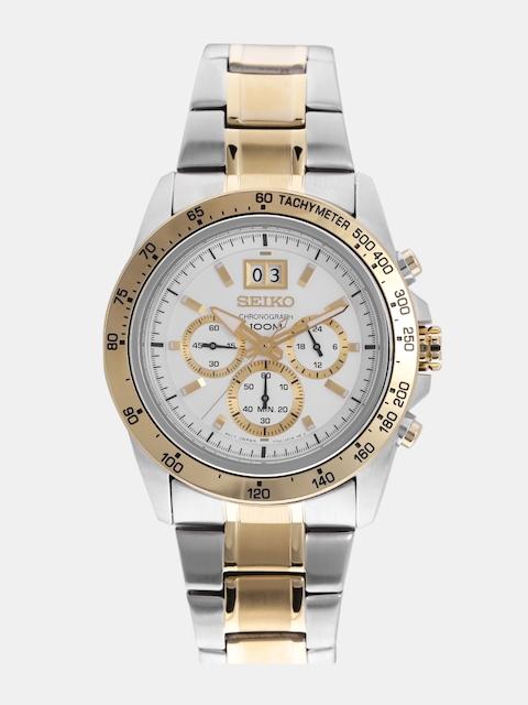 SEIKO Men Silver-Toned Chronograph Dial Watch SPC228P1