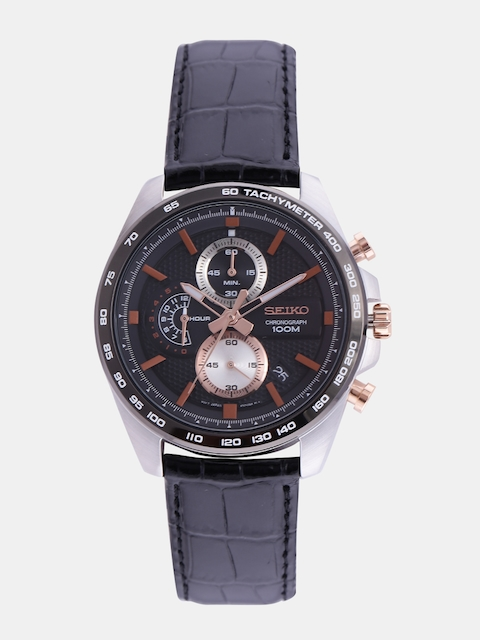 SEIKO Men Black Chronograph Watch SSB265P1