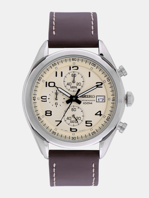 SEIKO Men Cream-Coloured Chronograph Watch SSB273P1